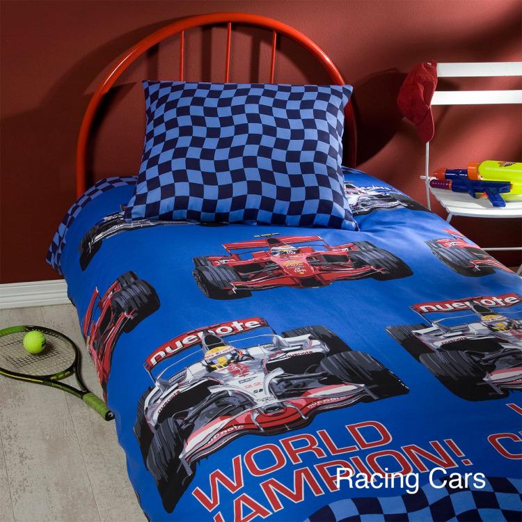 Day Dream Racing Cars dekbedovertrek - Blauw - 1-persoons (140x200 cm + 1 sloop)