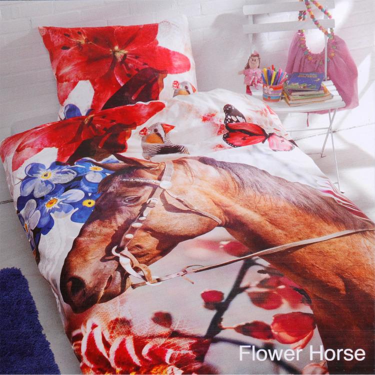 Day Dream Flower Horse dekbedovertrek - Multi - 1-persoons (140x200 cm + 1 sloop)