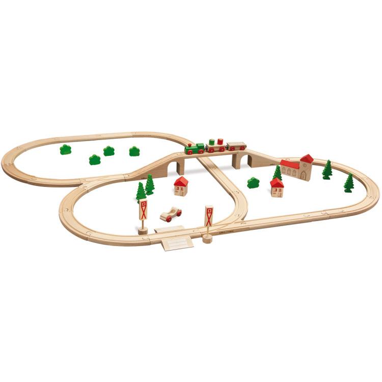 EICHHORN Houten spoorbaan met brug 55-delige set
