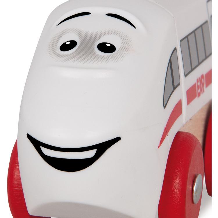Houten Locomotief Met Gezicht