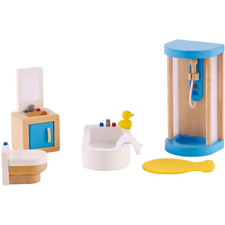 Houten badkamer voor poppenhuis