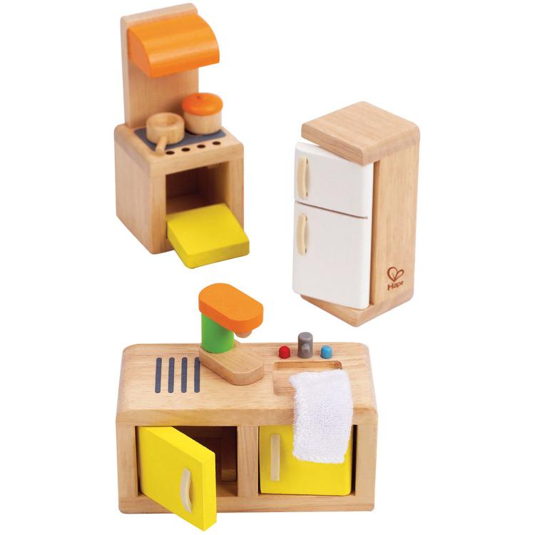 Houten keukentje voor poppenhuis
