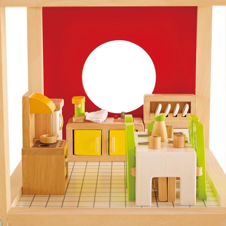 Houten eetkamer voor poppenhuis