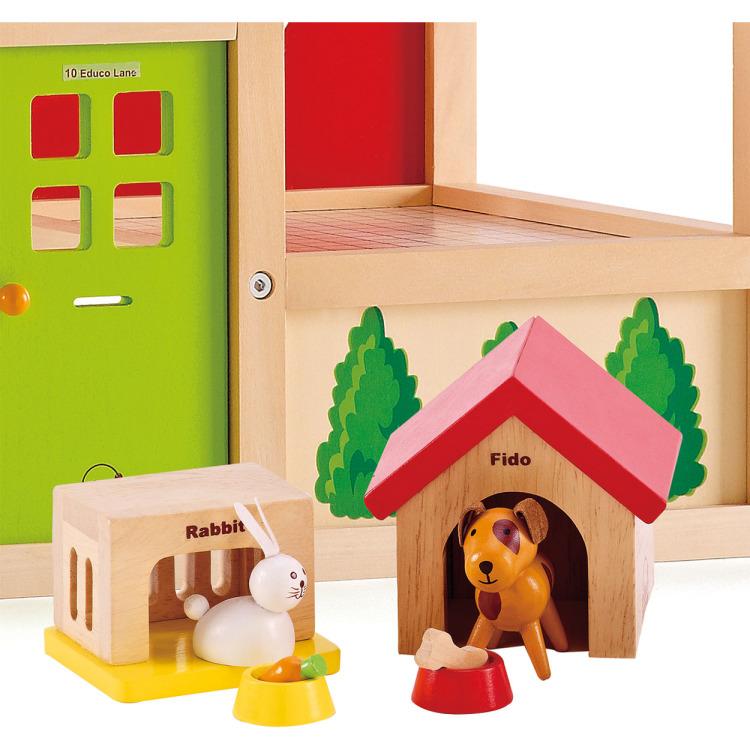 Houten huisdieren voor poppenhuis
