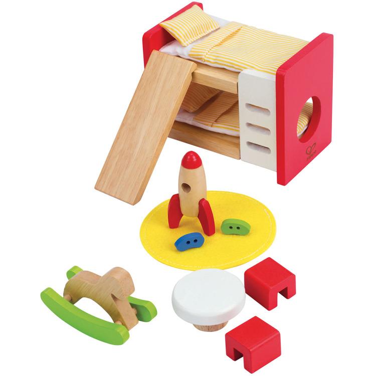 Houten kinderkamer voor poppenhuis