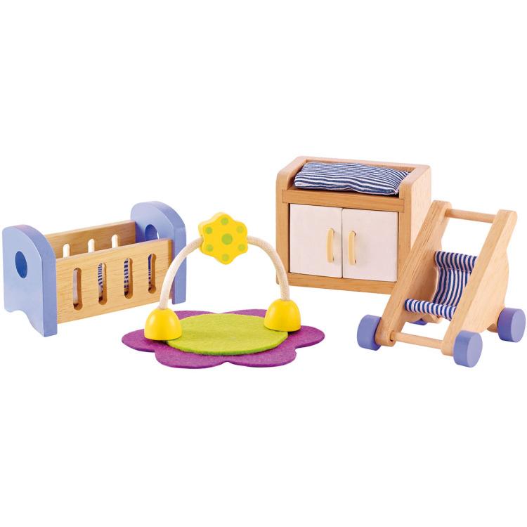 Houten babykamer voor poppenhuis