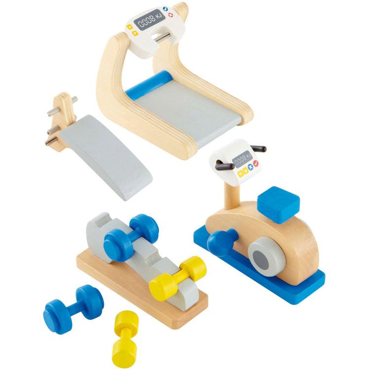 Houten gymtoestellen voor poppenhuis