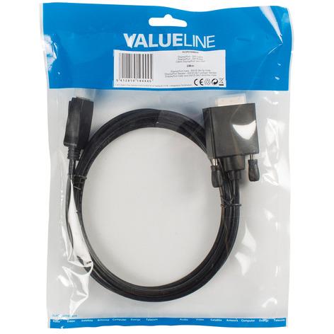 2m DisplayPort-DVI Kabel, Schwarz [DisplayPort Stecker -> DVI-D Stecker]