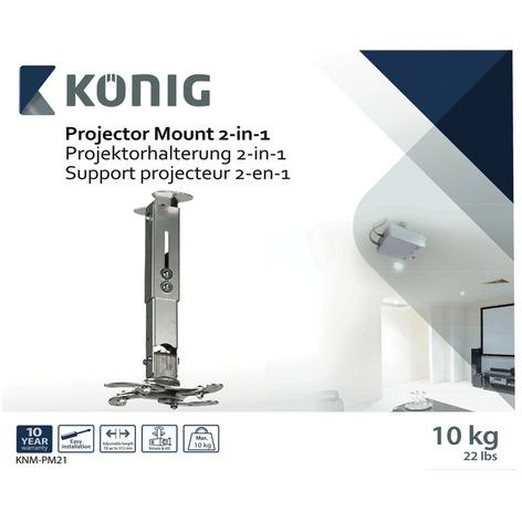 König Projectorbeugel 2-In-1 10 Kg / 22 Lbs Zilver