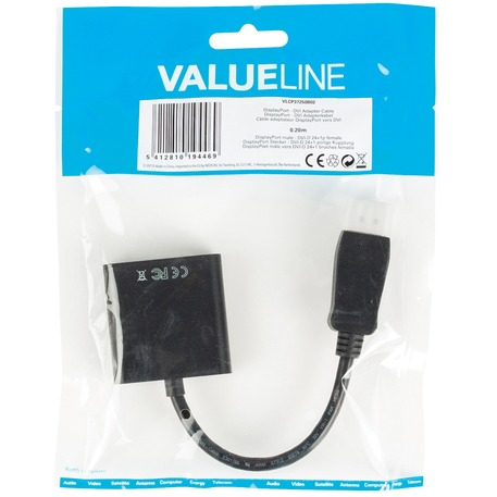Valueline Displayport - Dvi Adapterkabel Displayport Male - Dvi-D 24+1P Female 0,20 M Zwart