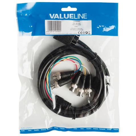 VGA BNC kabel VGA male 5x BNC male 2,00 m zwart