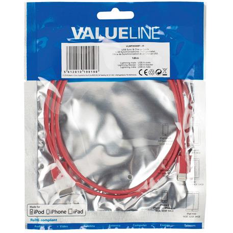 Valueline Vlmp39300r1.00 Usb Sync & Charge-kabel Lightning Mannelijk Usb A Mannelijk 1,00 M Rood