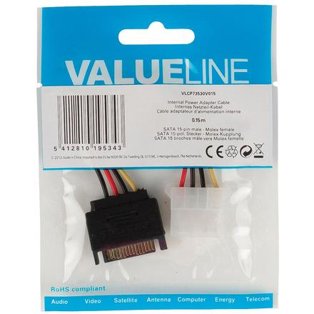 Interne stroom adapterkabel SATA 15-pins mannelijk Molex vrouwelijk 0,15 m veelkleurig