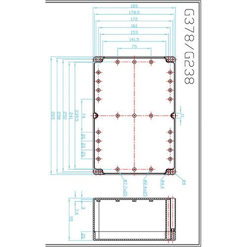 ABS behuizing 265 x 185 x 95 mm