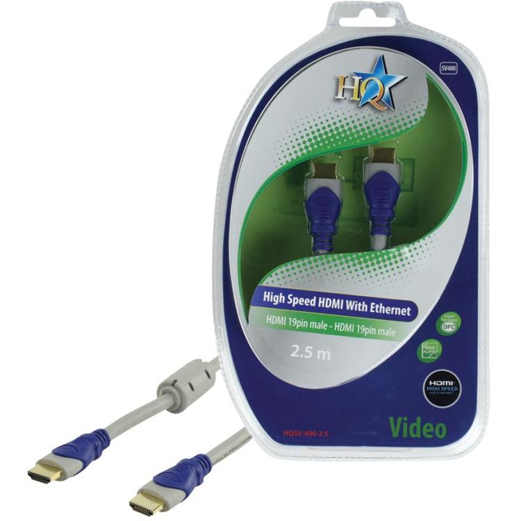 HQ - 1.4 High Speed HDMI kabel  - 2.5 m - Grijs/Blauw