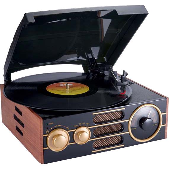 Bigben TD101 Retro Platenspeler met AM/FM Radio en 33, 45, 78 Toeren - Hout