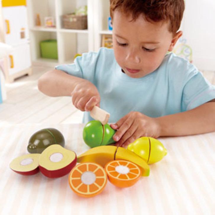 Houten snijset vers fruit