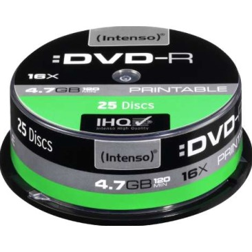 Image of 1x25 Intenso DVD-R 4.7GB 16x Speed Cakebox printable