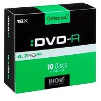 Image of 1x10 Intenso DVD-R 4,7GB 16x Speed, Slimcase