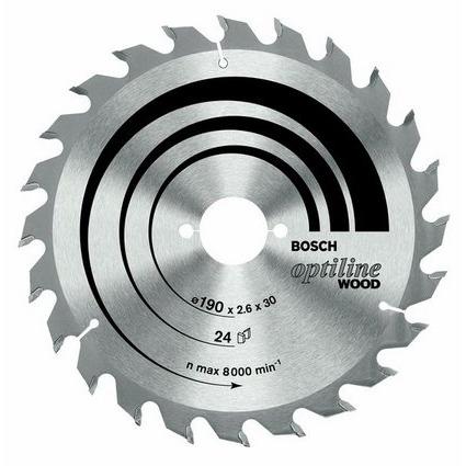 Cirkelzaagblad Optiline Wood 190 x 30 x 2,6 mm, 36 Bosch 2608640616 Diameter:190 x 30 mm Dikte:2.6 m