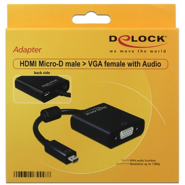 HDMI-VGA-Jackplug Adapter met schroefsluiting [1x HDMI-stekker D micro => 1x VGA bus, Jackplug femal