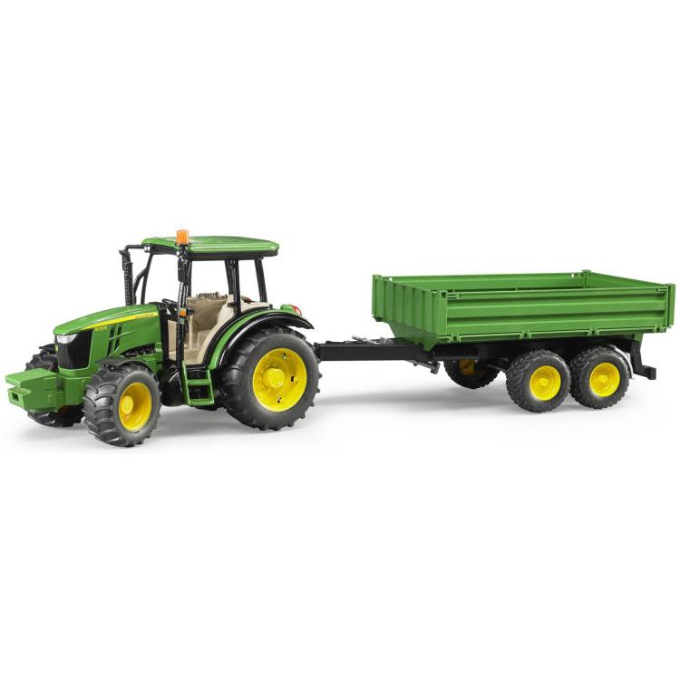 Image of Bruder - john deere tractor 5115m met aanhanger