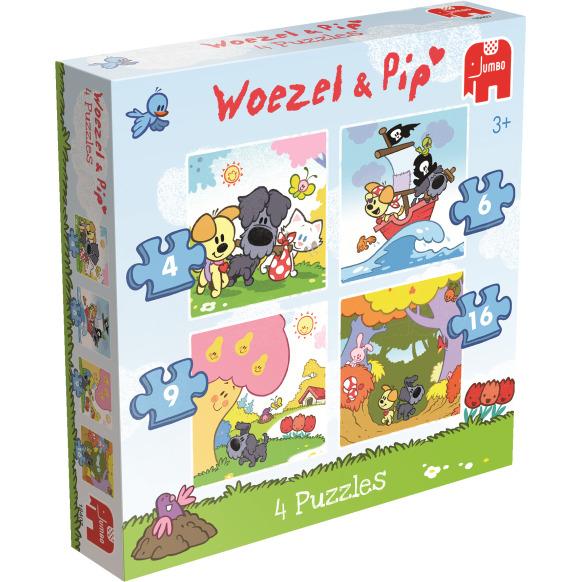 Woezel en Pip Puzzel 4 In 1 Stuk