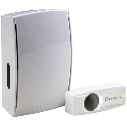 Image of Complete set Draadloze deurbel verlicht, met naambord Byron BY501E