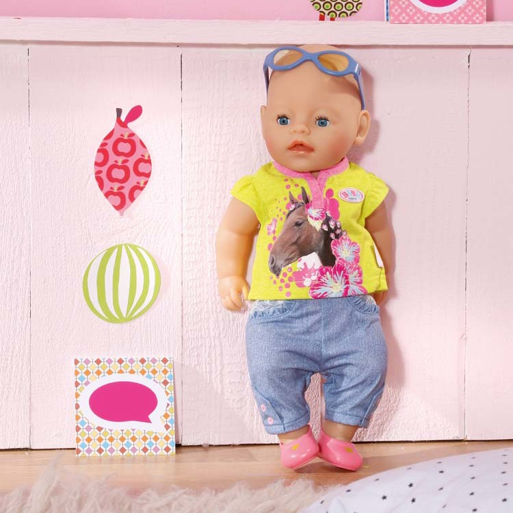 Baby Born classic jeans kledingset lime