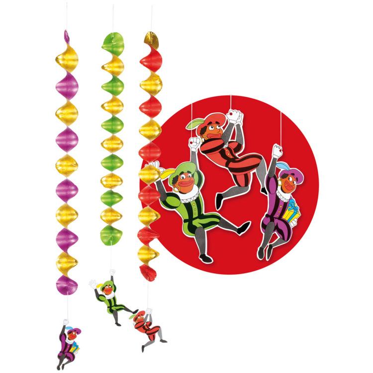 Zak 3 Decoratiespiralen Zwarte Pieten 3 kleuren ass. (60 cm)