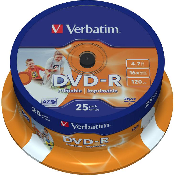 Verbatim 43538 DVD-R Wide Inkjet Printable ID Brand Schijven - 25 Stuks / Spindel