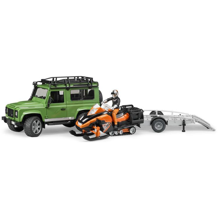 Image of Bruder - land rover defender station wagon met aanhanger, snowmobile