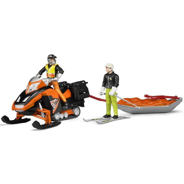 Image of Bruder - sneeuwscooter met akia slee en skier