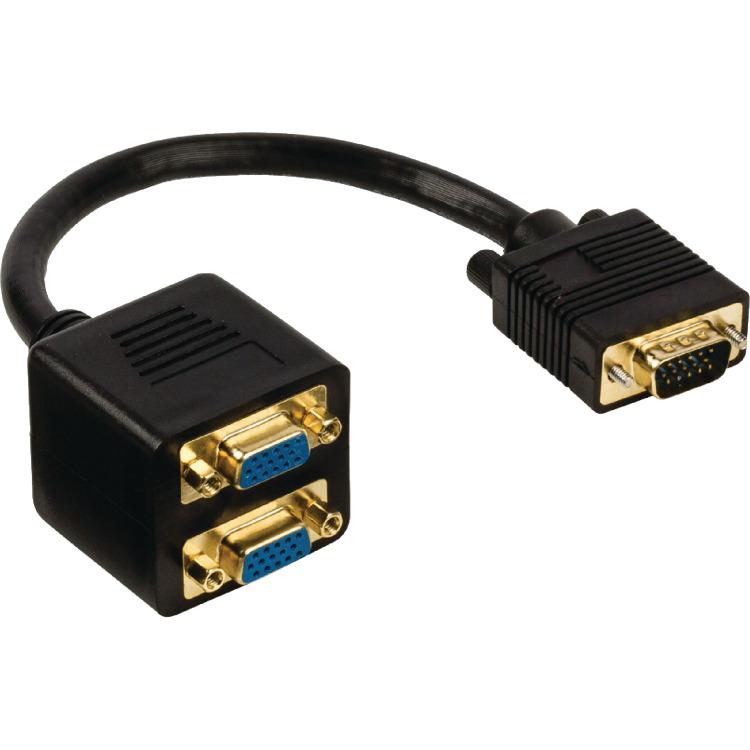 VGA splitterkabel VGA male 2x VGA female 0,20 m zwart