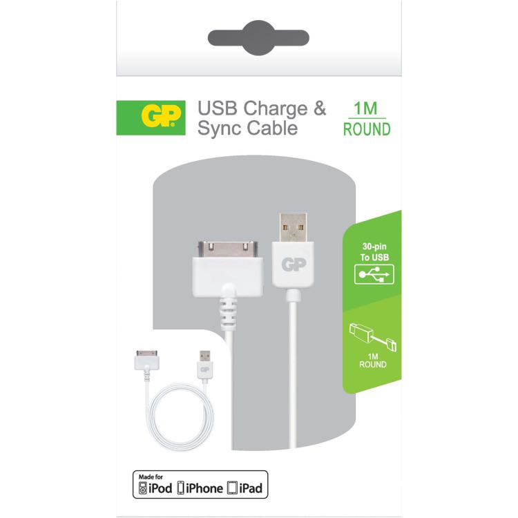 GP Batteries CB01 Charge & Sync kabel 1 meter met 30PIN connector (160GPACECB01B01)