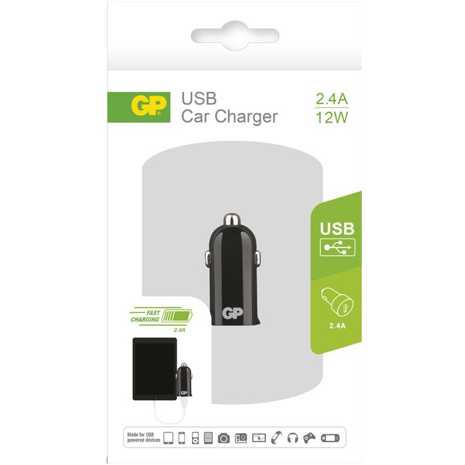 GP Batteries CC22 Car Charger met 1 USB poort 12-24V2.4A (150GPACECC22B01)
