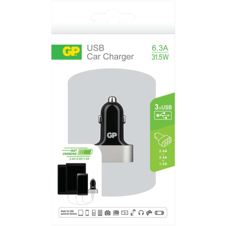 GP Batteries CC61 Car Charger met 3 USB poorten 12-24V 6.3A (150GPACECC61B01)