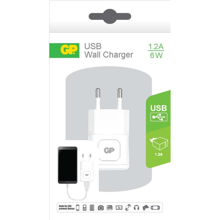 GP Batteries WA11 Wall Charger met 1 USB poort 100-240V 1.2A (150GPACEWA11B01)