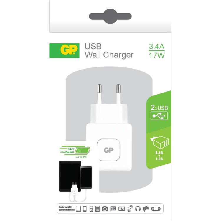 GP Batteries WA31 Wall Charger met 2 USB poorten 100-240V 3.4A (150GPACEWA31B01)