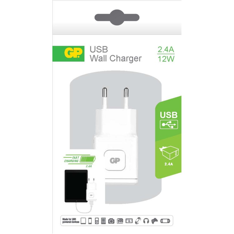 GP Batteries WA21 Wall Charger met 1 USB poort 100-240V 2.4A (150GPACEWA21B01)