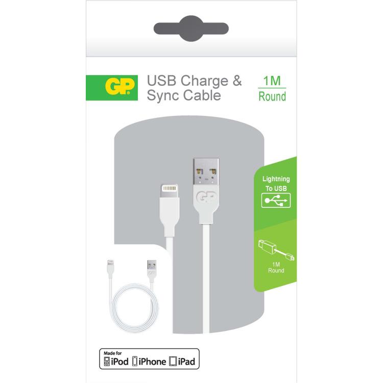 GP Batteries CB13 Charge & Sync kabel 1 meter met Lightning connector (160GPACECB13B01)