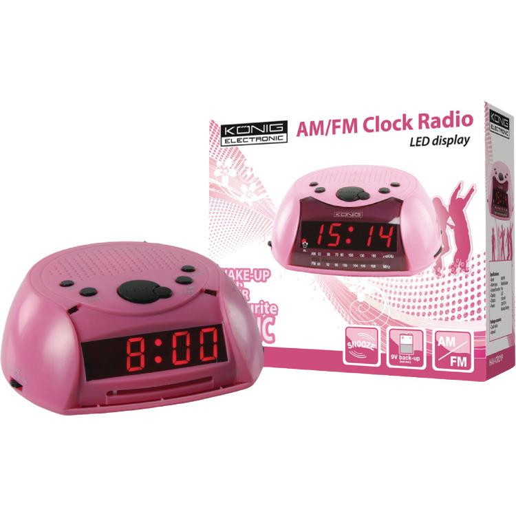 Image of AM / FM wekkerradio roze