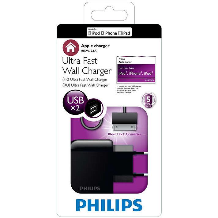 Philips DLP2207I - Dubbele Usb Wandoplader voor iPad, iPhone en iPod - Zwart