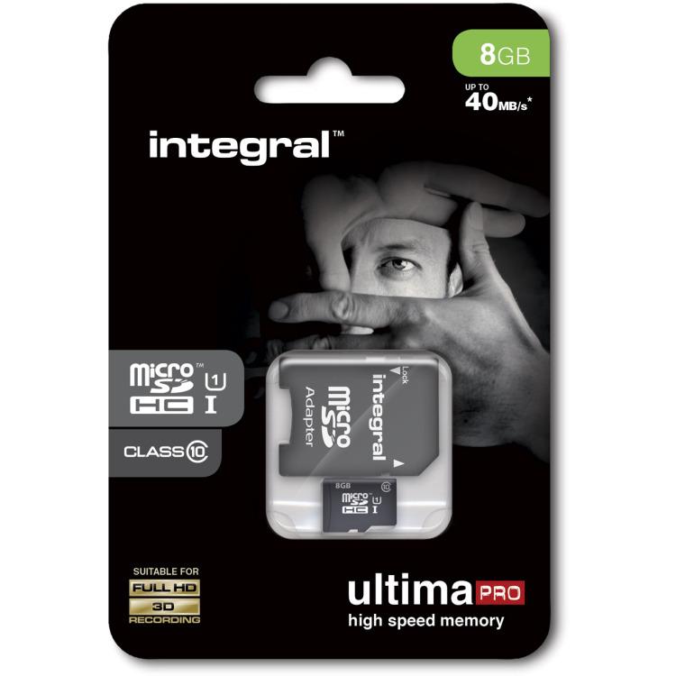 MicroSDHC 8 GB + SD Adapter