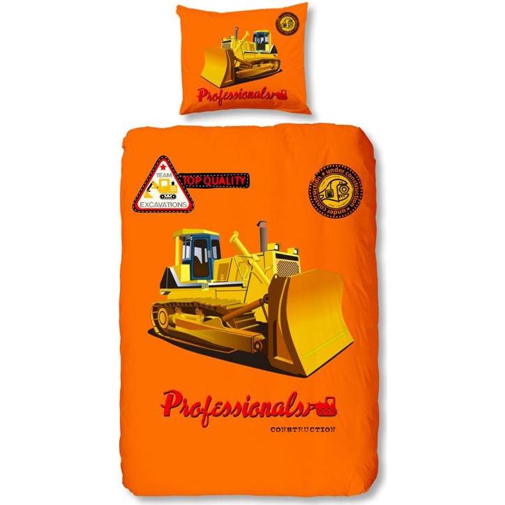 Bulldozer dekbedovertrek - Oranje - 1-persoons (140x200/220 cm + 1 sloop)