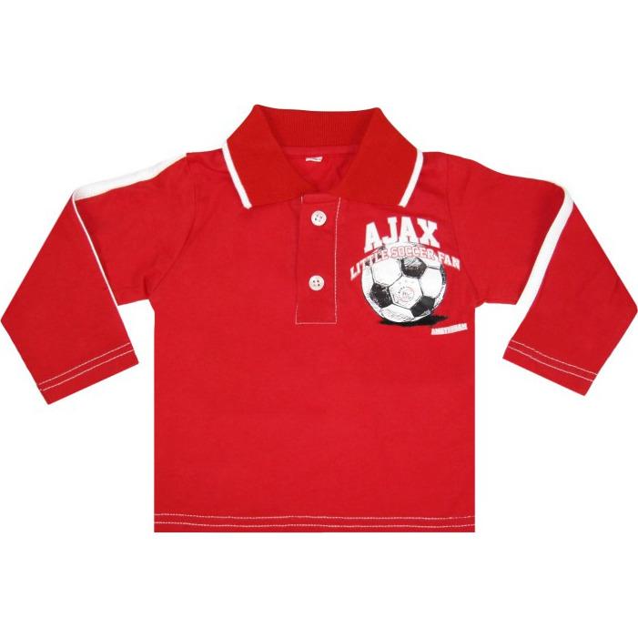 Image of Baby Polo Longsleeves Little Soccer Fan Rood, Maat 62/68