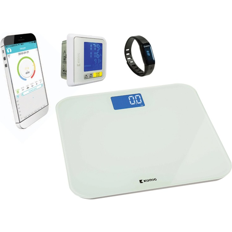 Bluetooth sportarmband + personenweegschaal + bloeddrukmeter pols