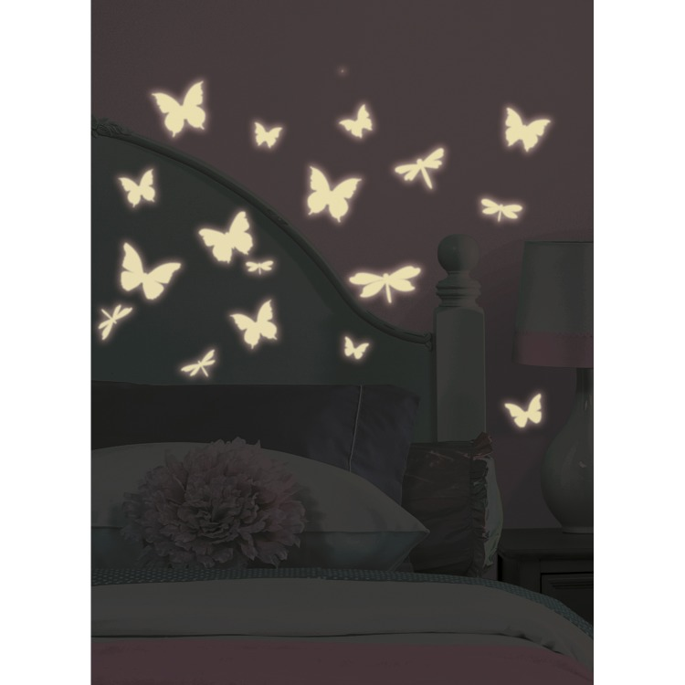 RoomMates Muursticker Butterfly & Dragonfly - Glow in the dark