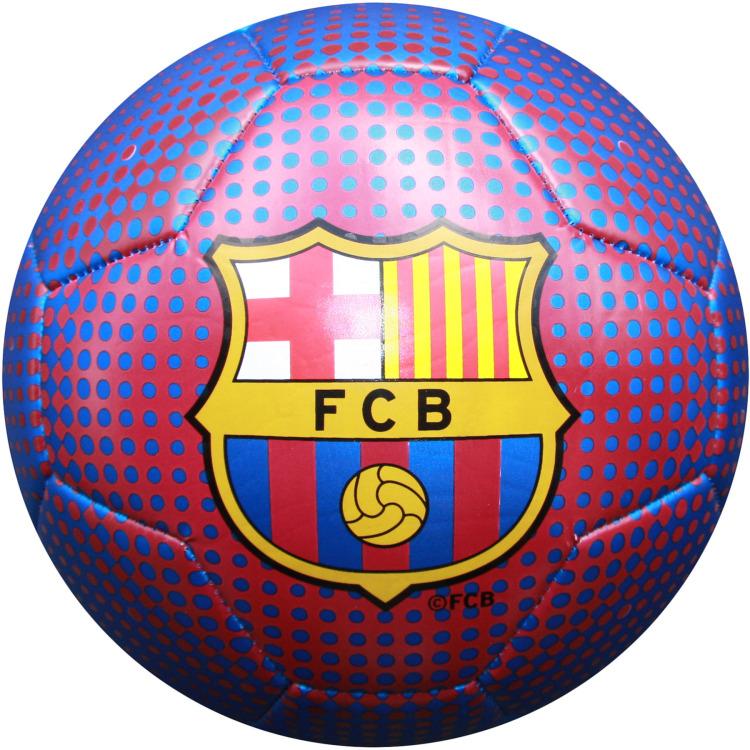 Image of Bal barcelona leer groot blauw metallic logo V3
