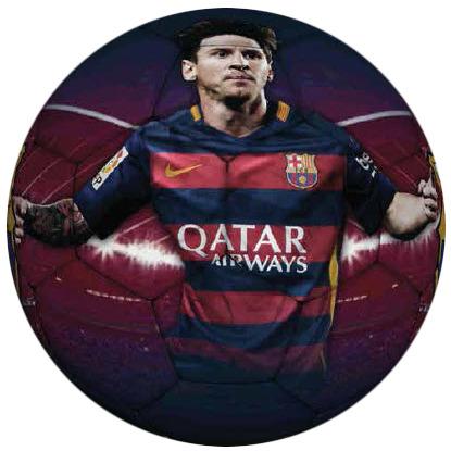 Image of Bal barcelona leer groot rood/blauw Messi